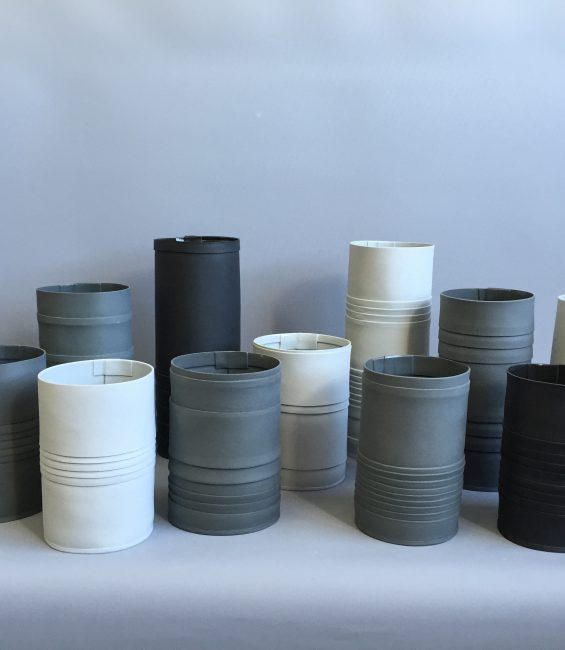 shades of grey pleated vessels