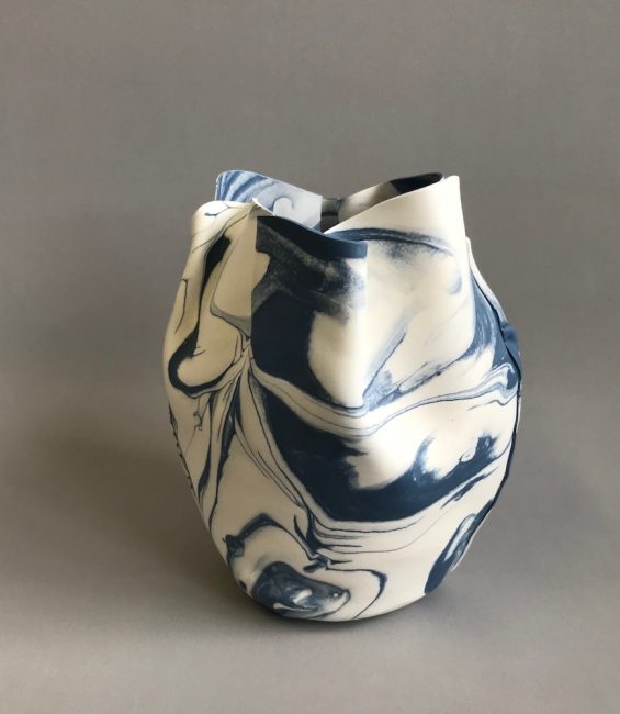 blue marbled soft pot