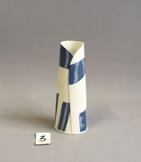 #3 blue and white budvase